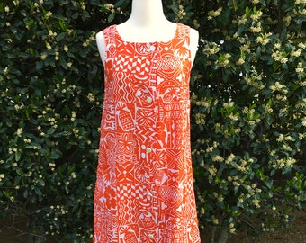 Vintage 1960s Orange Hawaiian Tiki Dress / Pineapple & Ukulele Print / Hawaii / Tropical / Island / Sun Dress / Lounge Dress / White Print