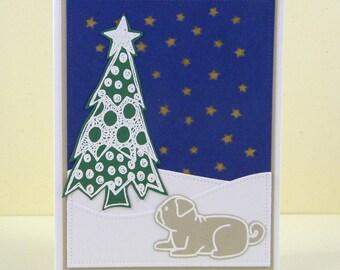 Pug Christmas Card, Pug Holiday Card, Pug Greeting Card, Pug Card