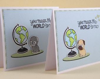 Pug Thank You Card, Pug Thanks, Pug Love Card, Pug Anniversary Card, Pug Friendship Card