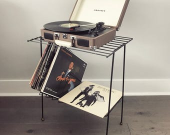Midcentury Modern Metal Record Stand