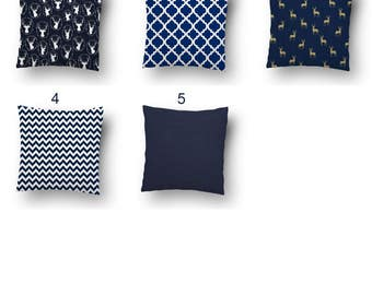 Super Special Summer SALE! Throw Pillow Covers - Navy Pillow Covers, Navy/White, Pillow Covers 20X20, 16 x 16, 18 x 18, 24 x24, InvisibleZip