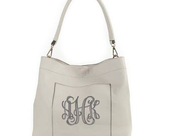 Monogrammed bucket bag 2in1 gold tone hardware, personalized purse in Light Grey