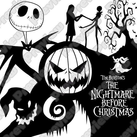 Nightmare Before Christmas Decal Shirt or Wall Art