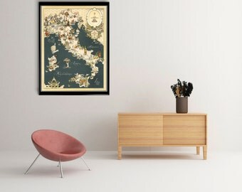 Vintage Italy Map, old Italy food map Print, Art Poster,Office Decor, Home Decor Print