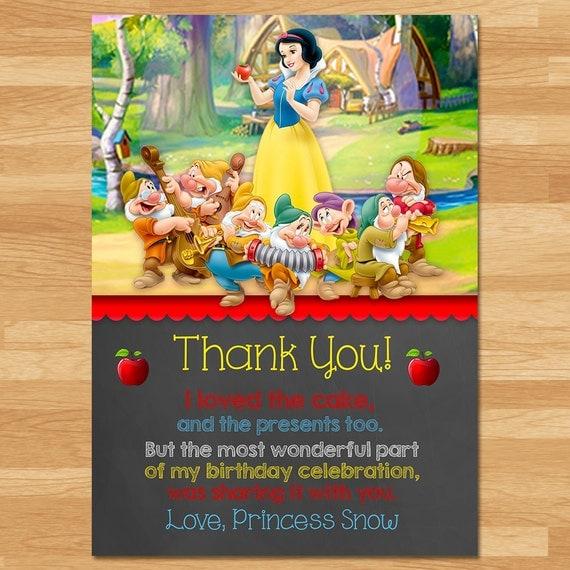Snow White Thank You Card - Chalkboard - Snow White Thanks - Disney Princess Thanks - Princess Printables - Snow White Birthday Party Favors