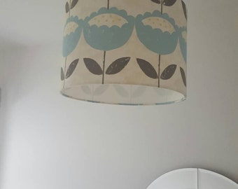 Modern bespoke lampshade, 30cm diameter, retro, blue flower pattern, pendant lighting, drum lampshade, handmade lighting