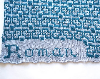 Personalized baby blanket - name blanket - knit baby blanket - knit cotton blanket - baby name blanket - newborn blanket - swaddle blanket