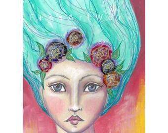 """Mixed media art, Boho art, Whimsical art, Fantasy art, """"Letting Go"""" encouragement gift, Gift for friend, Gift for her wall art"""