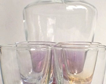 Parisienne 5-Piece Iridescent Cordial Set in Orginal Box, Made in France