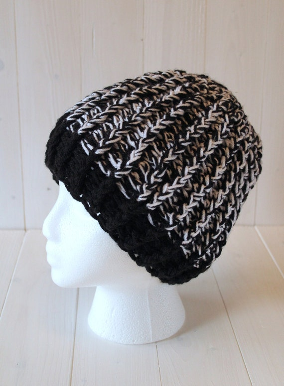 Hat, Beanie hat, Womens hats, Ladies hat, Black and white hat, Crochet Knitted hat, Crochet hat, Womens beanie hat, Ready to ship,