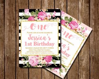 Floral 1st Birthday Invitation, 1st Birthday Invitation Girls, Pink and Gold invitation, 1st Birthday Invitation, Girl, Gold Glitter