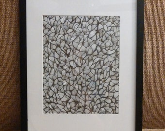 "Framed Art Print Psychedelic Black and White Line Art ""Spilled Tape Recorder"""