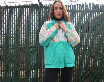 Teal 80's Windbreaker With Floral Pattern Lightweight Spring Flowers Turquoise Running Jacket