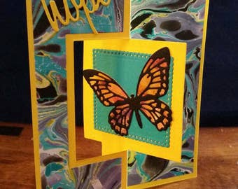 "Hand Marbled ""Hope"" Card"