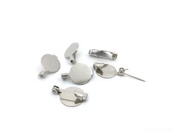 20 Brooch Pin Blank-Glue On Brooch-Brooch Pin Back-Brass Bar Pin-Cabochon Setting-Name Tag Pin-Brooch Findings-13x20