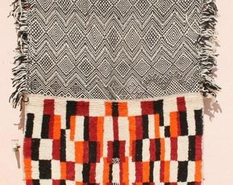 Tapestry Wall Hanging, Wall Tapestry, Throw Rug Black White, Blanket Black White Red Orange, Kilim Rug, Geometric Rug, Bedouin Tribal Rug