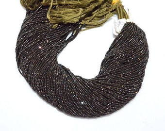 """Fine Diamond Cutting Black Spinel Chocolate Coated Rondelle, Mystic Coated Faceted Beads, Sold By Strand, 2-2.20 mm, 13"""" - MC368D"""