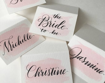 Watercolor Calligraphy Place Cards / Escort Cards