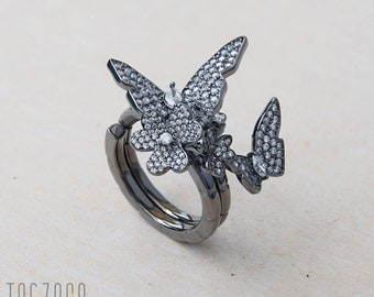 Imagination | Folding Ring with Butterfly and Flower | Sterling Silver | Cubic Zirconia | Two Fingers Ring