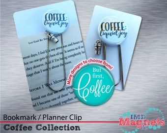 Coffee Lover Bookmark / Planner Clip / Jumbo Paper Clip with Charm - Stocking Stuffer - Teacher Gift - Secret Santa
