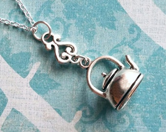 Teapot Necklace / Tea Necklace / Victorian Necklace / Silver Teapot / Bohemian Necklace
