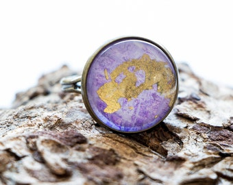 Abstract Purple & Gold Leaf Glass Cabochon Ring // Statement Ring, Adjustable Ring, Wearable Art, Gifts for Her, Travel Jewelry, Travel Her