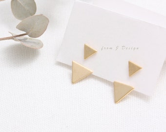 Double Triangle Front and Back Stud Earrings/ Small Arrow Drop Ear Jackets