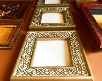 Vintage Hollywood Regency Art Deco Gold and Ivory Scroll Small Wall Frames / Wall Gallery Frames - Set of Three - Vintage Hollywood Regency