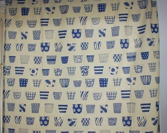 Fabulous retro vintage pair of Curtain lengths with sweet blue pots pattern.  Made in Sweden Scandinavian