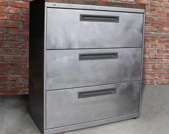 4 drawer Rustic Desk / Metal Filing Cabinet / industrial desk