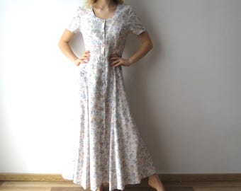 Vintage Maxi Summer Dress Flowers Print Dress Short Sleeve Button Up Shirt Dress Festival Dress Medium/Large Size 90's Dress Church Dress