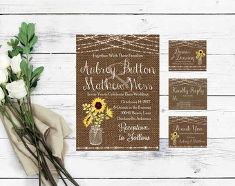 Mason Jar Wedding Invitation Templates- Sunflower Wedding Invitation- Burlap Wedding Invitations- Rustic Wedding Invitation Printable