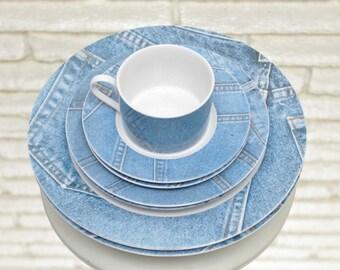 Set of Vintage Jean Plates 2 Dinner Plates 4 Salad Plates and 4 Side Plates Light Blue Denim Dinnerware Plate Set for 2 1980's Bohemian