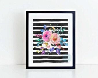PRINTABLE Art Watercolor Print Watercolor Art Flower Art Print Flower Print Wall Art Abstract Flowers Botanical Prints Watercolour Flowers