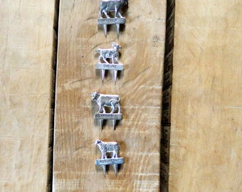 Cheese, cheese markers, Vintage French, Table decor, goat, cow, sheep, table display, animal tags, dinner party, French country, kitchen,