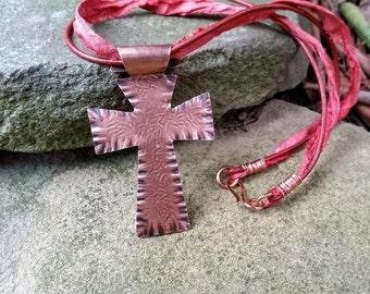 Ruffled Copper Cross Pendant Neckalce//Gifts for Her//Hammered Copper Cross Pendant//Rustic Copper Pendants//Rustic Cross Necklace//Pendants