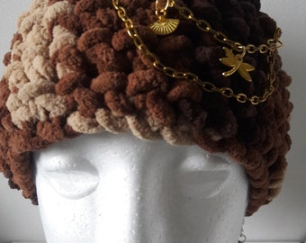 Crochet brown cosy soft earmuff, Winter warm Boho style headband with golden chain and charms