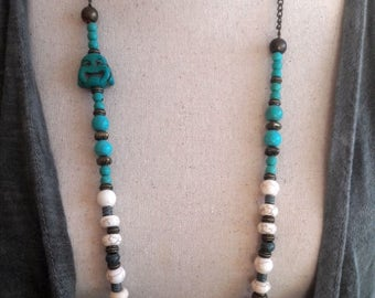 Boho Buddha turquoise beaded necklace, Ibiza style Cream/Turquoise and copper beaded long chain beaded necklace