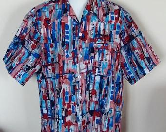Mens 1970s Abstract Print Short Sleeve Shirt
