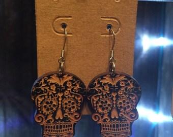 Wood Sugar Skull Earrings