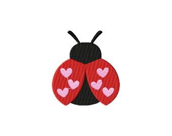 PES, lady bug embroidery design, love bug embroidery design, valentines day embroidery design, valentines day design, ladybug hearts