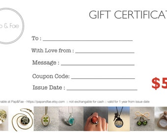 Gift Certificate, AUD50, 50, Gift Voucher, Resin Jewelry, Gifts for Her, Resin Necklace, Resin Ring, Resin Earring