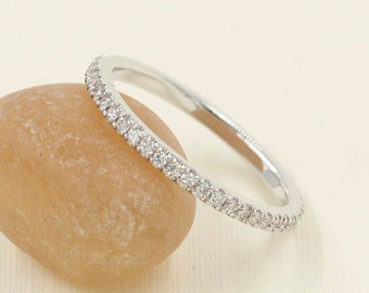 1.6mm Full Eternity Band.Diamond Wedding Band,Rose gold wedding Band.14k White,Yellow Gold. 0.38ct High Quality Diamond.Wedding Band