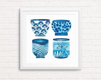 Handpainted Teacup Print, Watercolor Print, Asian Teacups, Kitchen Decor, Teacup Illustration, Scandinavian, Blue Kitchen Art, Asian Print