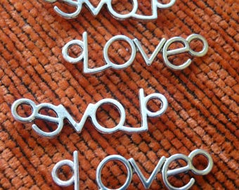 Love Charms, Love Connector Charms, Bracelet Charms, Necklace Pendants Charms, Antique Silver Tone Love Charms for DIY Jewelry Making