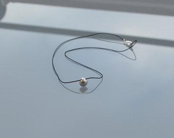 ZOUX115 minimalist necklace in black silk - semi precious faceted silver Pyrite briolette pendant - Sterling Silver 925