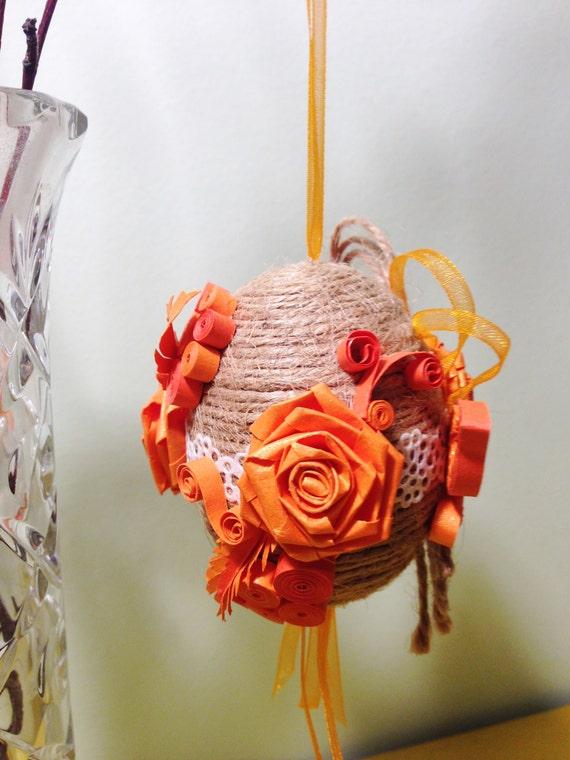 Handmade Jute Baskets : Easter decorations handmade jute egg quilled