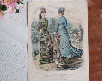 Antique French Fashion Print - Journal des Demoiselles - #4110 - 19th Century