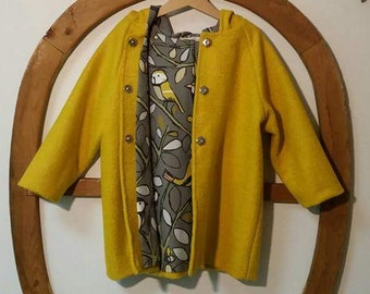 Girls yellow wool jacket with cotton lining with birds and Cap