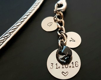 Personalised Date & Initials Stamped Hand Bookmark with Swarovski Charm